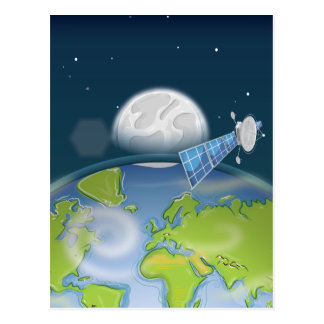 Satellite orbiting the planet Earth and Moon Postcard