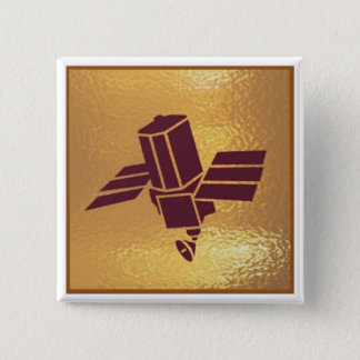 Satellite Robotic Antenna  - Medal Icon Gold Base Pinback Button
