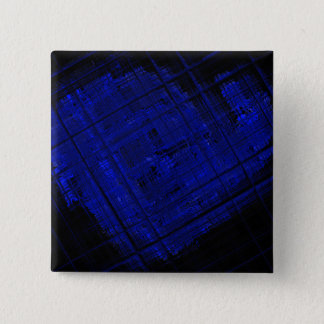 Satellite Stained Glass in Bold Blue Pinback Button