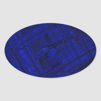 Satellite Stained Glass in Bold Blue Oval Sticker