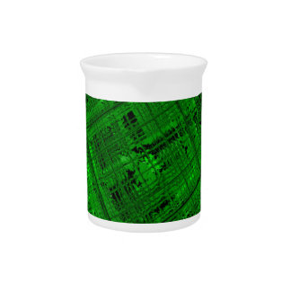 Satellite Stained Glass in Bright Green Beverage Pitcher