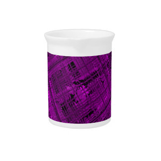 Satellite Stained Glass in Vibrant Purple Beverage Pitcher