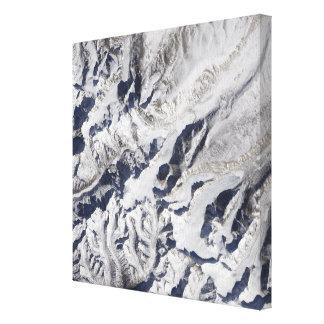 Satellite view of a Himalayan glacier Canvas Print
