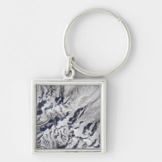 Satellite view of a Himalayan glacier Keychain