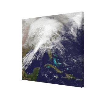Satellite view of a massive winter storm canvas print
