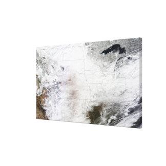 Satellite view of a massive winter storm over U Canvas Print