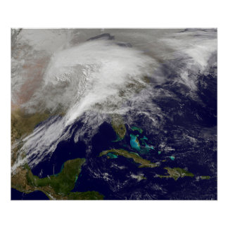 Satellite view of a massive winter storm poster