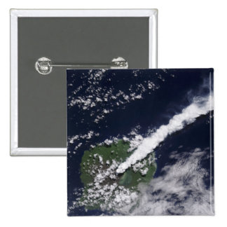 Satellite view of a thick, steam-rich plume pinback button