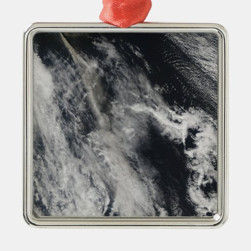 Satellite view of an ash plume 2 christmas tree ornament