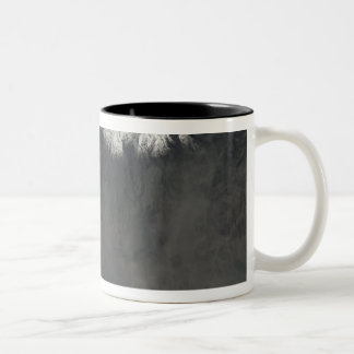 Satellite view of an ash plume 4 Two-Tone coffee mug