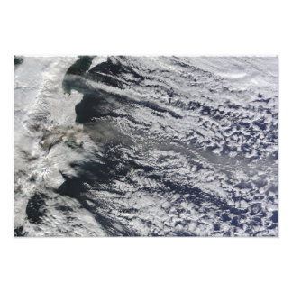 Satellite view of an ash plume photo art