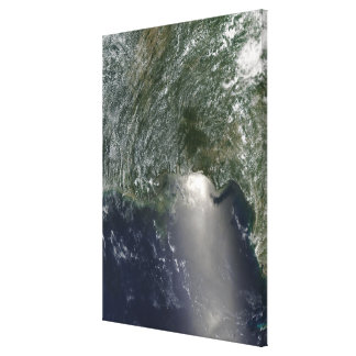 Satellite view of an oil spill stretched canvas print