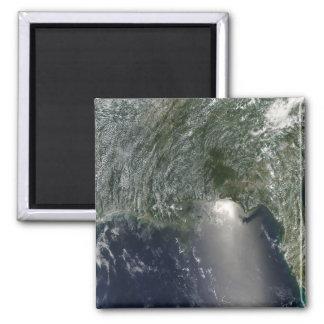 Satellite view of an oil spill fridge magnet