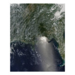 Satellite view of an oil spill poster