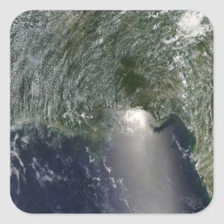 Satellite view of an oil spill square sticker