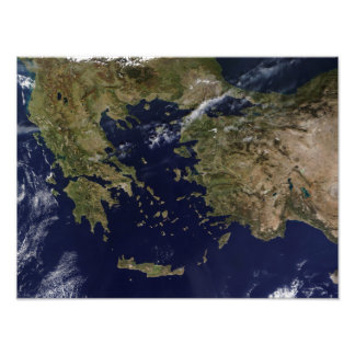 Satellite view of Greece and Turkey Photo Print