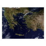 Satellite view of Greece and Turkey Poster