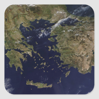 Satellite view of Greece and Turkey Square Sticker