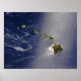 Satellite View of Hawaii Archipelago Islands Poster