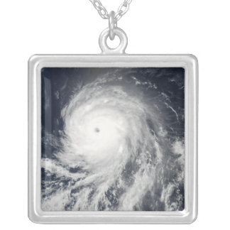 Satellite view of Hurricane Celia Square Pendant Necklace