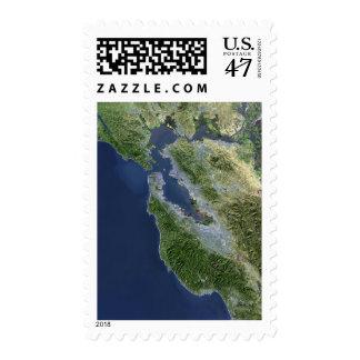 Satellite view of San Francisco, California Postage