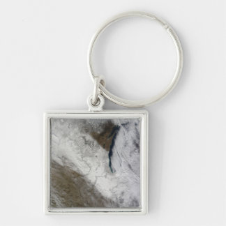 Satellite view of snow and cold Silver-Colored square keychain