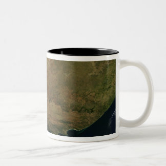 Satellite view of South Africa Two-Tone Coffee Mug