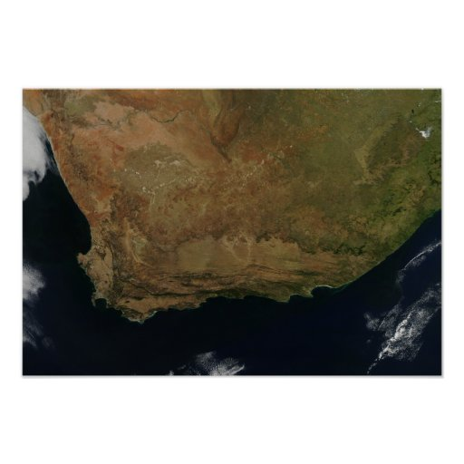 Satellite view of South Africa Poster