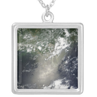 Satellite view of streaks and ribbons of oil personalized necklace