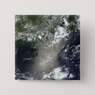 Satellite view of streaks and ribbons of oil pinback button