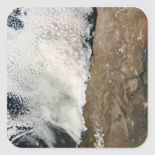 Satellite view of the Andes Mountains Square Sticker