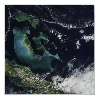 Satellite view of the Bahama Islands Poster