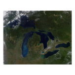 Satellite view of The Great Lakes Poster