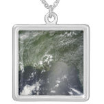 Satellite view of the Gulf of Mexico 2 Square Pendant Necklace