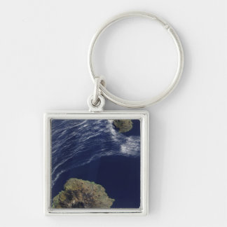 Satellite view of the Prince Edward Islands Silver-Colored Square Keychain