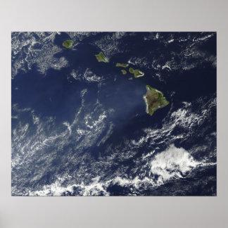 Satellite view of volcanic fog poster