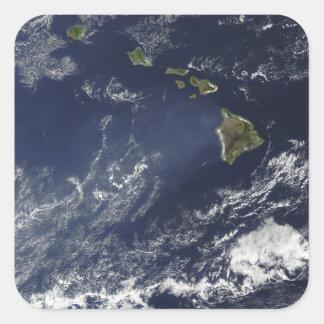 Satellite view of volcanic fog square sticker