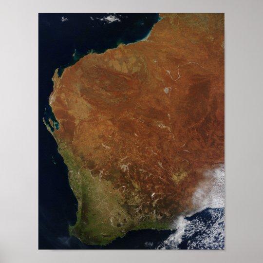 Satellite view of Western Australia Poster