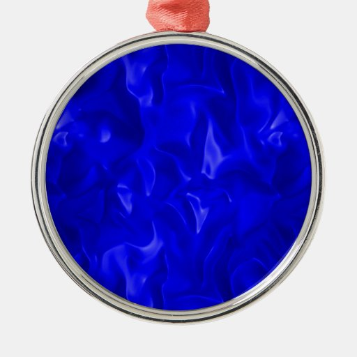 Satén azul adorno navideño redondo de metal