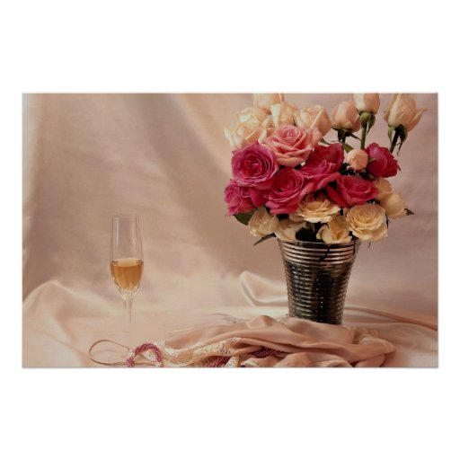 Satén blanco, ramo rosado de las perlas, rosado y  póster
