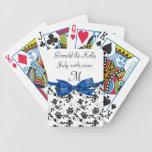 Satén blanco y azul negro del boda floral barajas de cartas