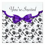 Satén blanco y púrpura negro del boda floral invitación 13,3 cm x 13,3cm