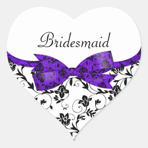 Satén blanco y púrpura negro del boda floral pegatina en forma de corazón