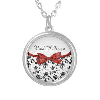 Satén blanco y rojo negro del boda floral joyería
