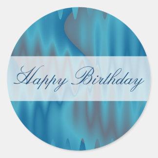 Satén de la turquesa del feliz cumpleaños pegatina redonda