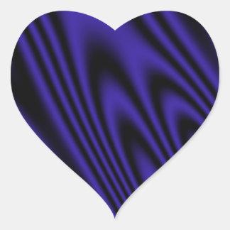 Satén del negro azul pegatina en forma de corazón