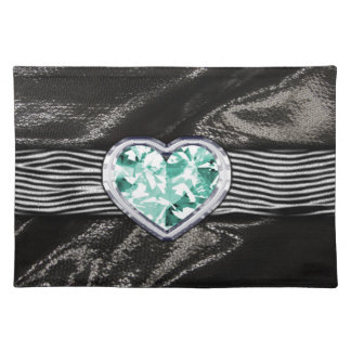 Satén del negro del modelo de la joya de la aguama mantel individual