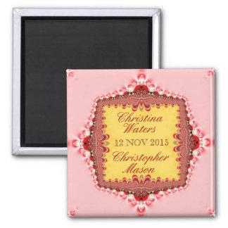 Satén rojo amarillo rosado+El boda del cordón Imán Cuadrado