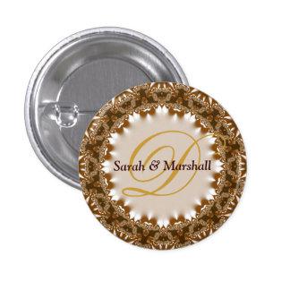 Satén terroso+Botón del monograma del boda del cor Pin Redondo 2,5 Cm