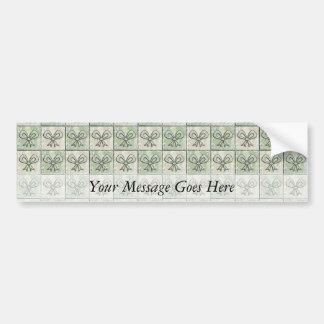 Satén y arcos florales etiqueta de parachoque